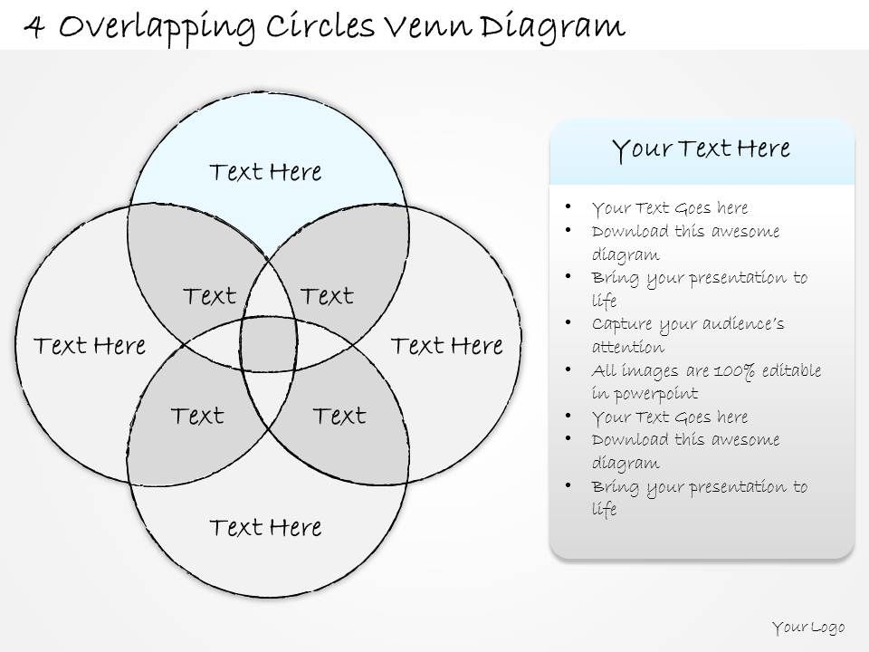 2014 business ppt diagram 4 overlapping circles venn for Venn diagram 5 circles template