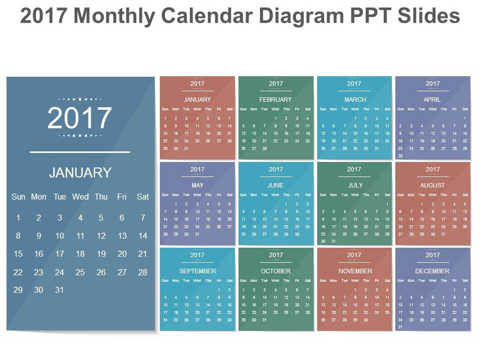 2017 Monthly Calendar Diagram Ppt Slides | Powerpoint Templates