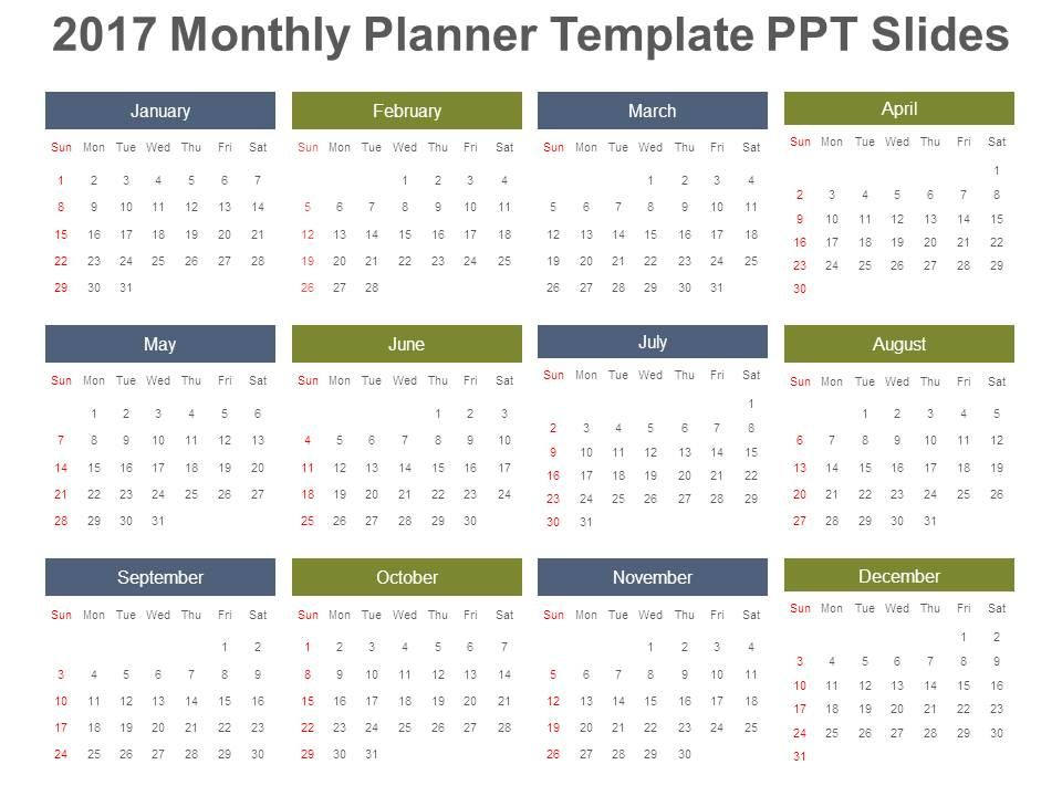 Monthly Planner Template Ppt Slides  Presentation Powerpoint