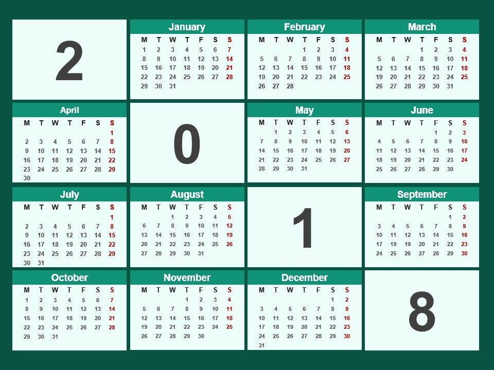2018 Calendar Powerpoint Template Presentation Powerpoint Diagrams