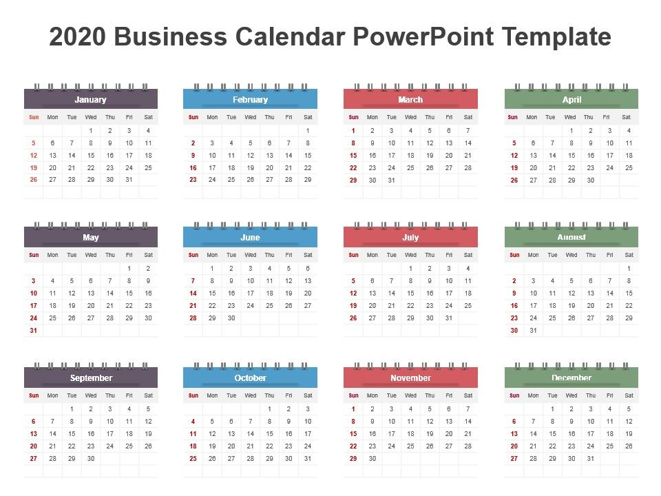 2020 Business Calendar Powerpoint Template Powerpoint Slide