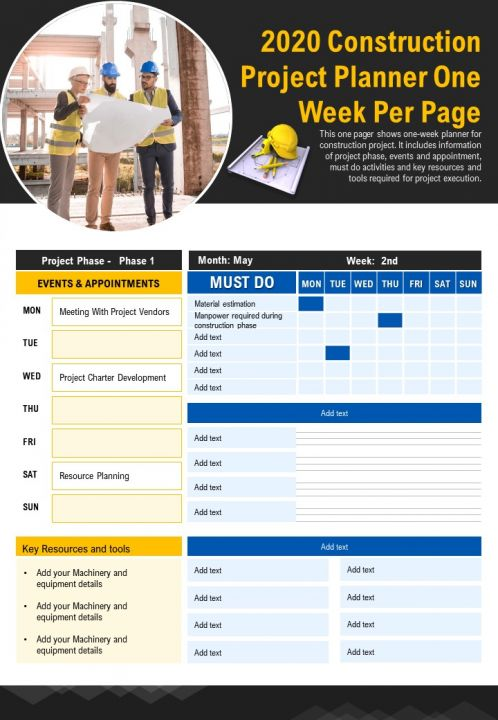 2020 Construction Project Planner One Week Per Page Presentation Report Infographic PPT PDF Document