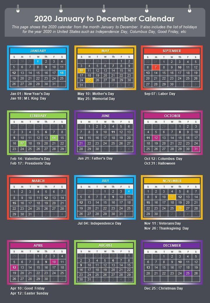 2020 January To December Calendar Presentation Report Infographic PPT PDF Document