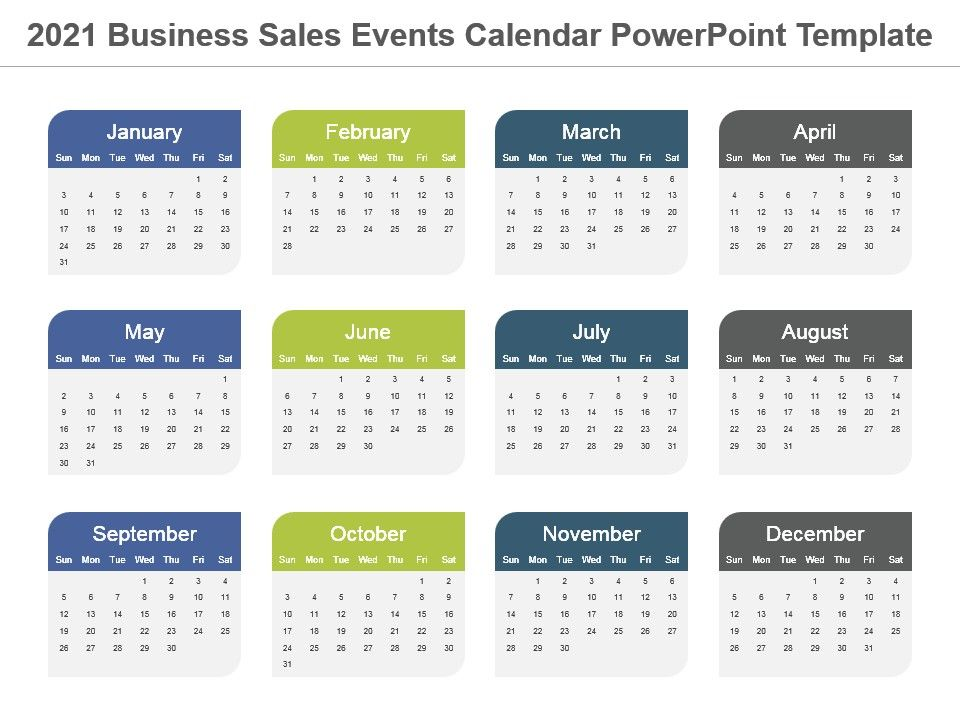 2021 Business Sales Events Calendar Powerpoint Template