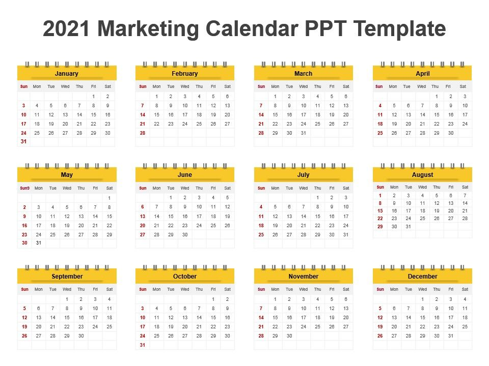 2021 Marketing Calendar Ppt Template | PowerPoint Slides Diagrams