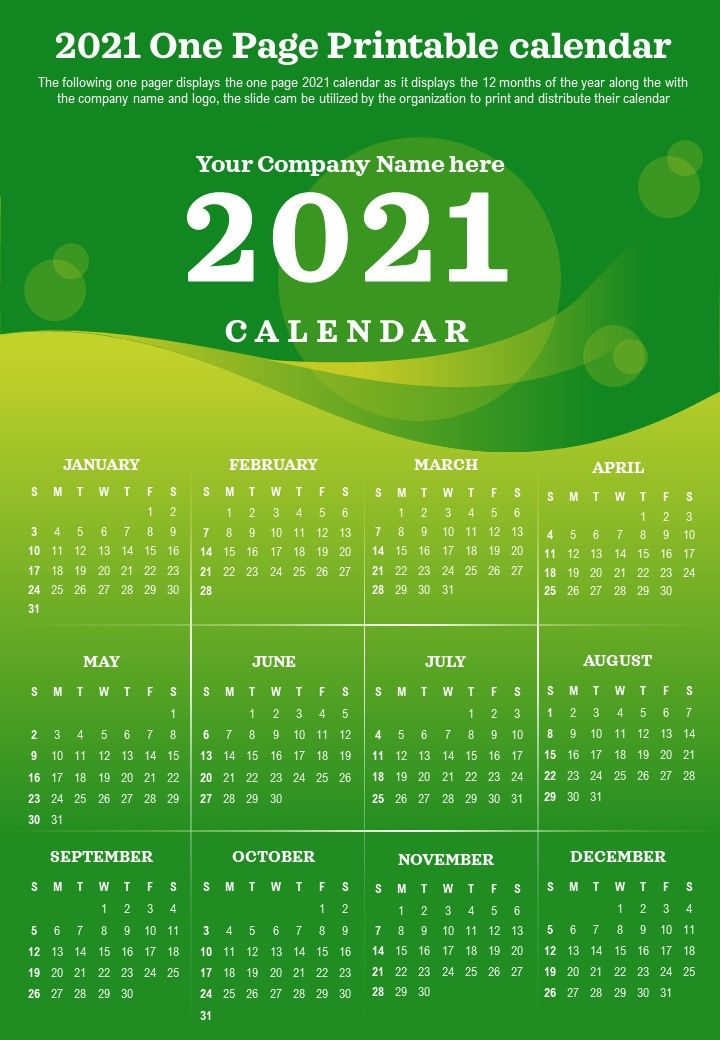 2021 One Page Printable Calendar Presentation Report Infographic PPT PDF Document