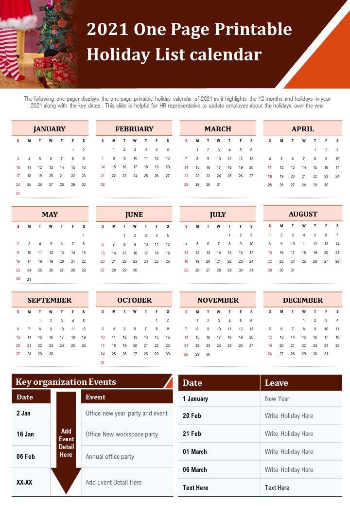 2021 One Page Printable Holiday List Calendar Presentation ...