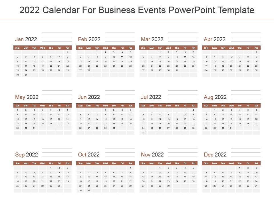 2022 Events Calendar.2022 Calendar For Business Events Powerpoint Template Powerpoint Presentation Templates Ppt Template Themes Powerpoint Presentation Portfolio