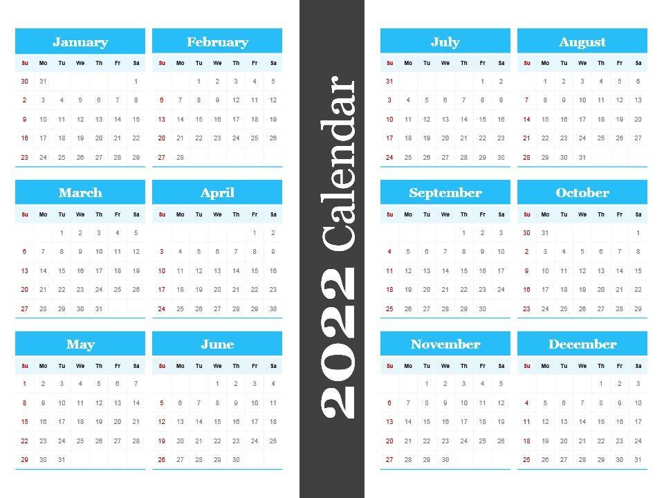 2022 Calendar Powerpoint Template Powerpoint Shapes Powerpoint