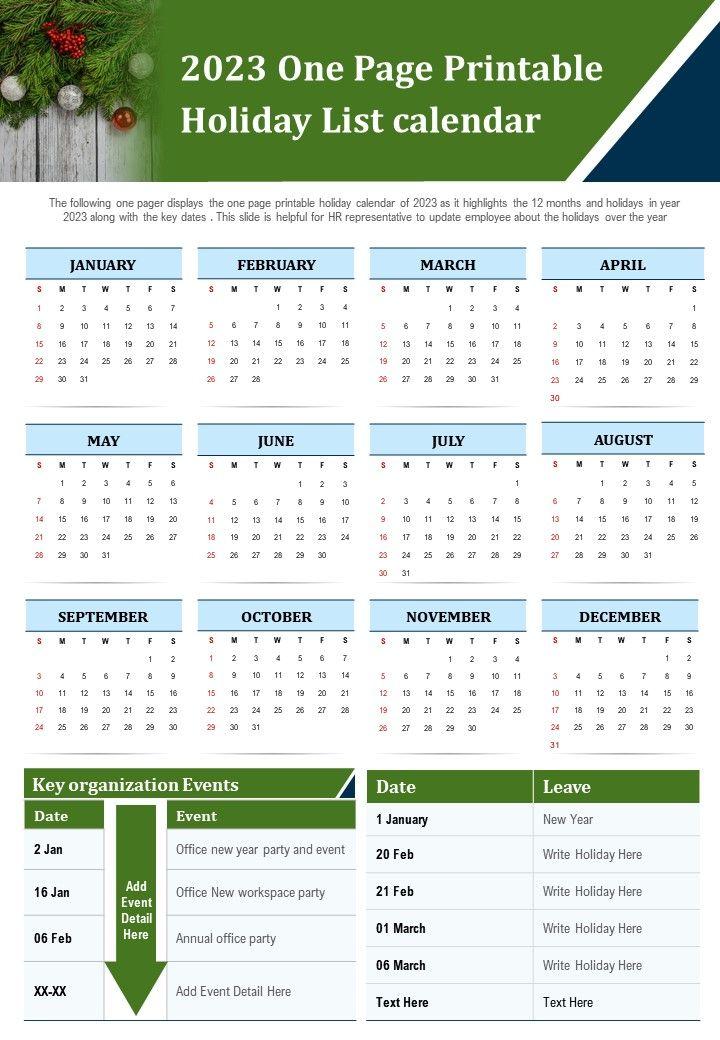 2023 2022 Calendar.2023 One Page Printable Holiday List Calendar Presentation Report Infographic Ppt Pdf Document Presentation Graphics Presentation Powerpoint Example Slide Templates