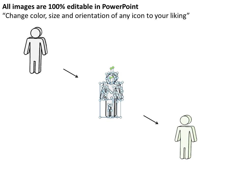2102 business ppt diagram man standing in arrows