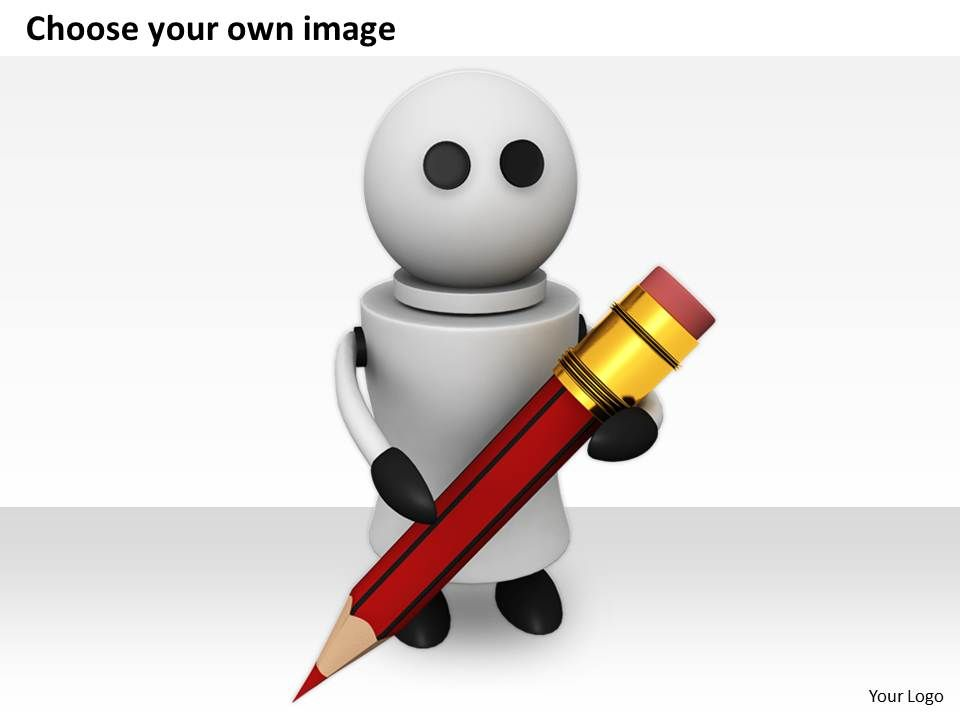 2413 business ppt diagram red robot with pencil powerpoint, Powerpoint templates