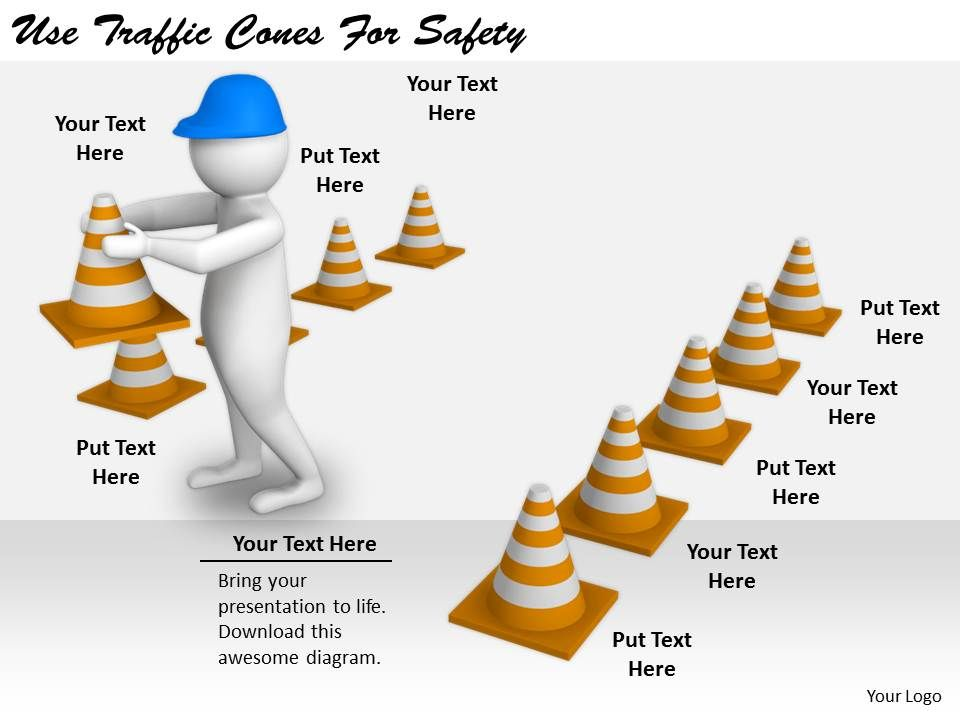 2413 business ppt diagram use traffic cones for safety powerpoint