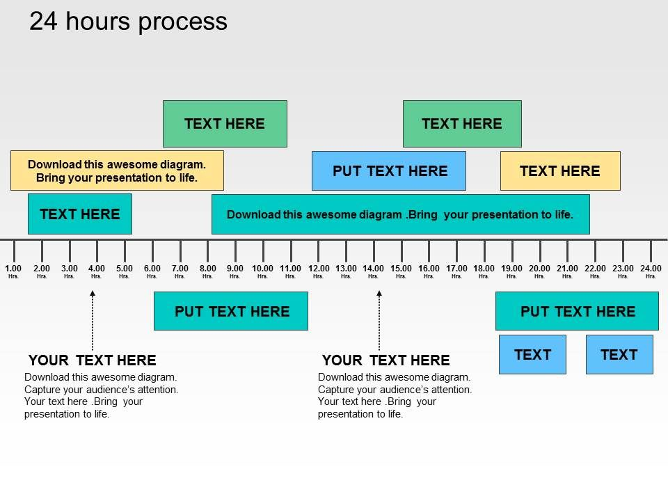 Hour Process Flat Powerpoint Design PowerPoint Presentation - 24 hour timeline template