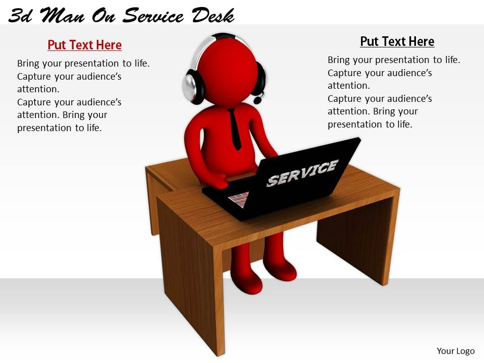 2513 3d man on service desk ppt graphics icons powerpoint, Help Desk Presentation Template, Presentation templates