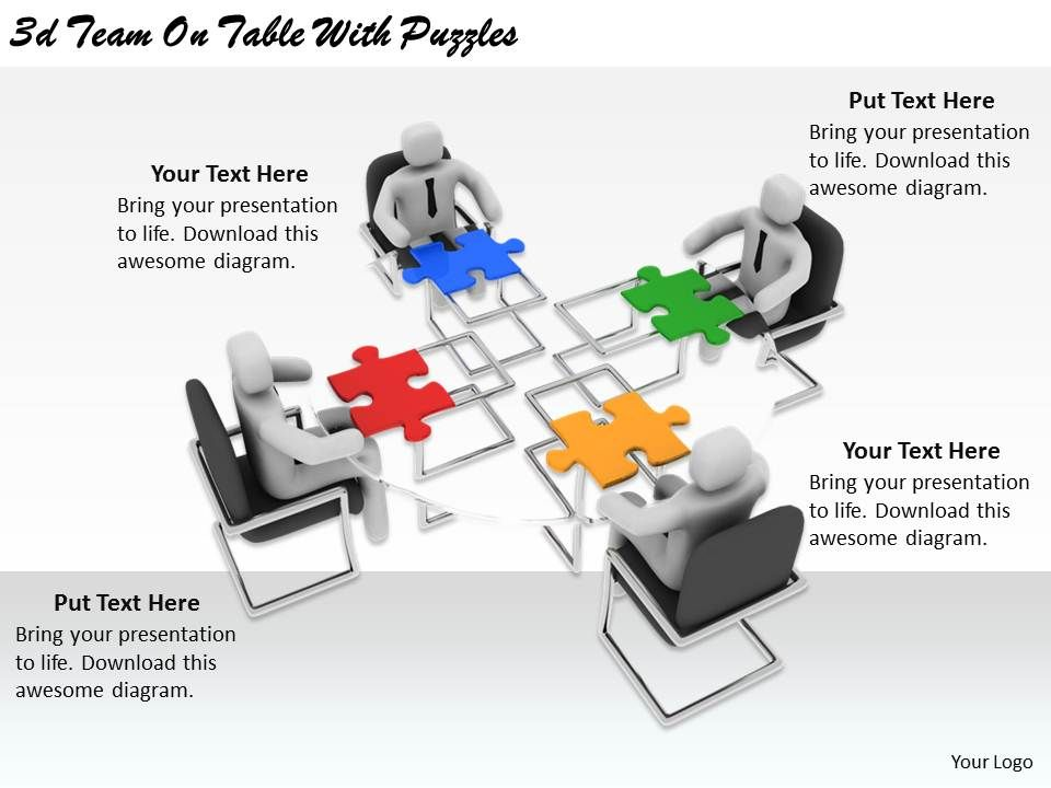 2513_3d_team_on_table_with_puzzles_ppt_graphics_icons_powerpoint_Slide01