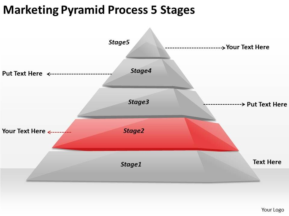 2613 Business Ppt Diagram Marketing Pyramid Process 5 Stages