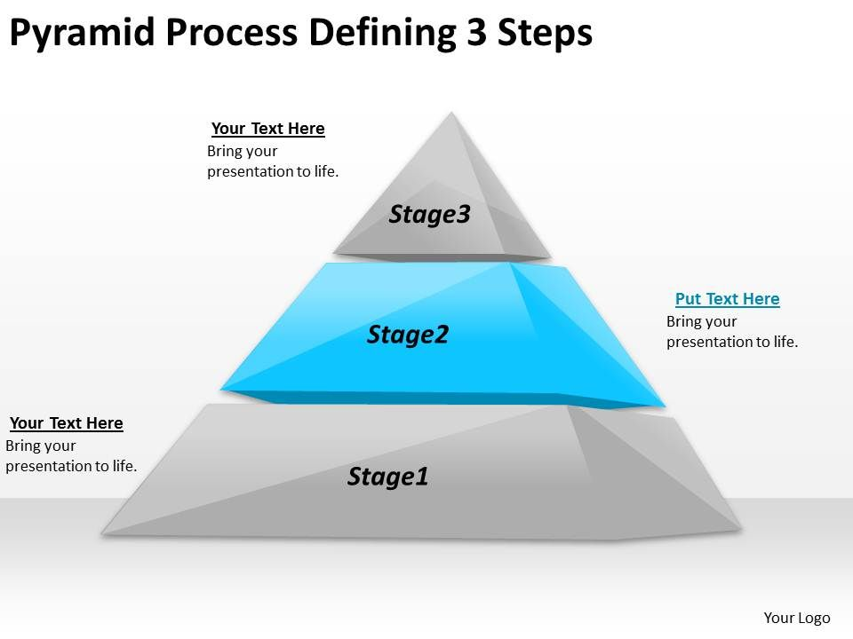 2613 Business Ppt Diagram Pyramid Process Defining 3 Steps