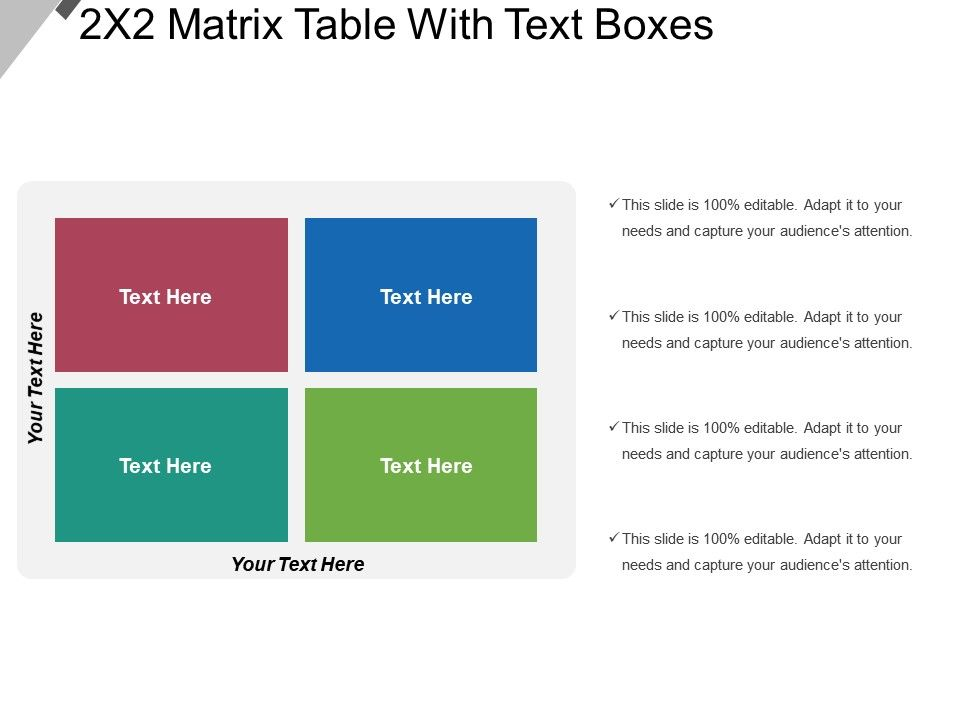 2x2 Matrix Table With Text Boxes Powerpoint Shapes Powerpoint