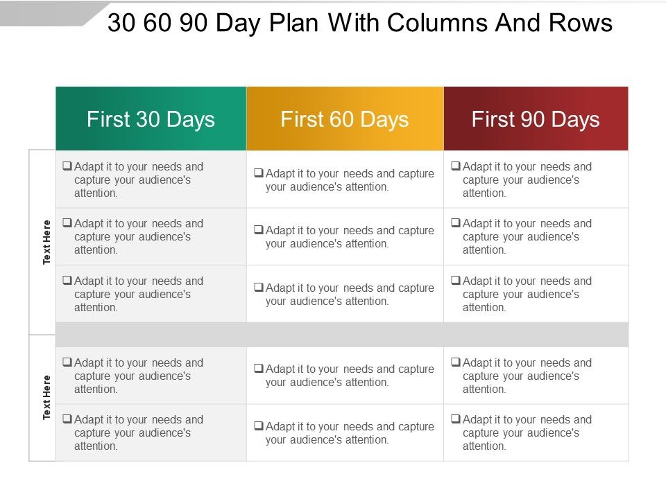 30 60 90 Day Plan With Columns And Rows Sample Of Ppt Powerpoint