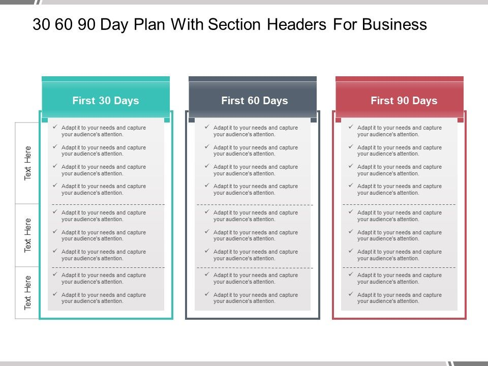 30 60 90 day plan with section headers for business for First 100 days plan template