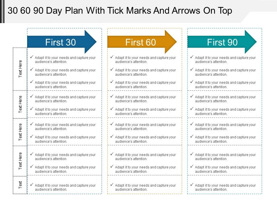 first 90 day plan template - 30 60 90 day plan with tick marks and arrows on top