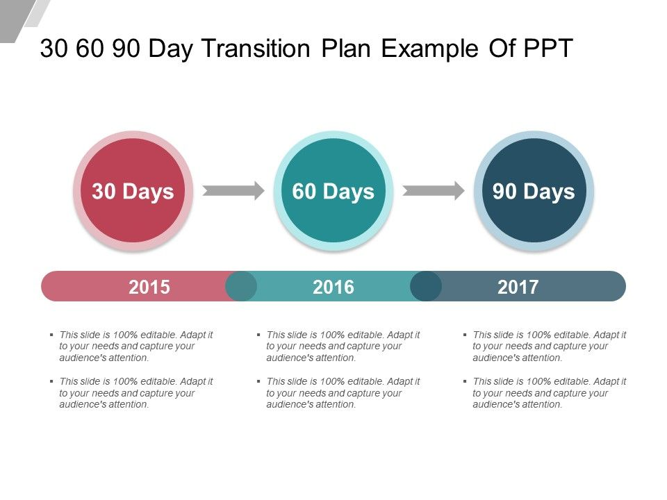 30 60 90 Day Transition Plan Example Of Ppt Powerpoint Slide