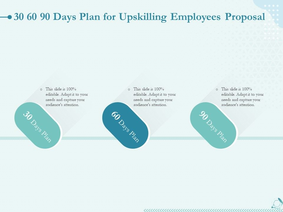 30 60 90 Days Plan For Upskilling Employees Proposal Ppt Powerpoint Templates