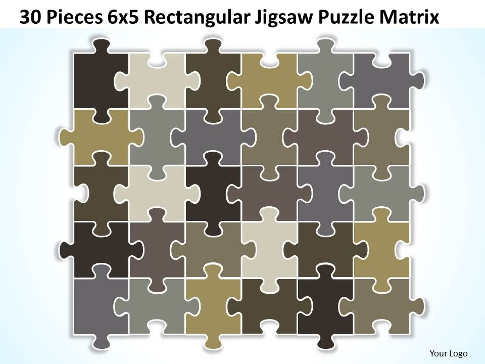 30 Pieces 6x5 Rectangular Jigsaw Puzzle Matrix Powerpoint Templates 0812 Slide01