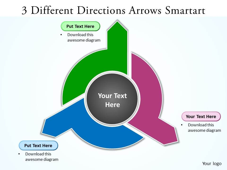 3 different directions arrows smartart powerpoint slides