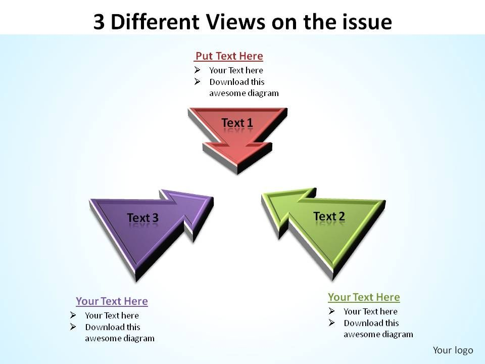 3_different_views_on_the_issue_inward_arrows_ppt_slides_diagrams_templates_powerpoint_info_graphics_Slide01