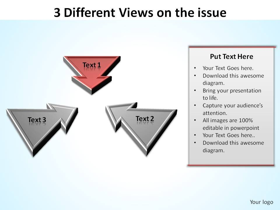 3_different_views_on_the_issue_inward_arrows_ppt_slides_diagrams_templates_powerpoint_info_graphics_Slide02