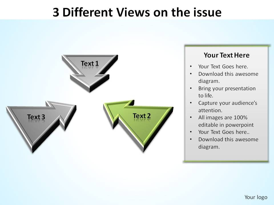 3_different_views_on_the_issue_inward_arrows_ppt_slides_diagrams_templates_powerpoint_info_graphics_Slide03