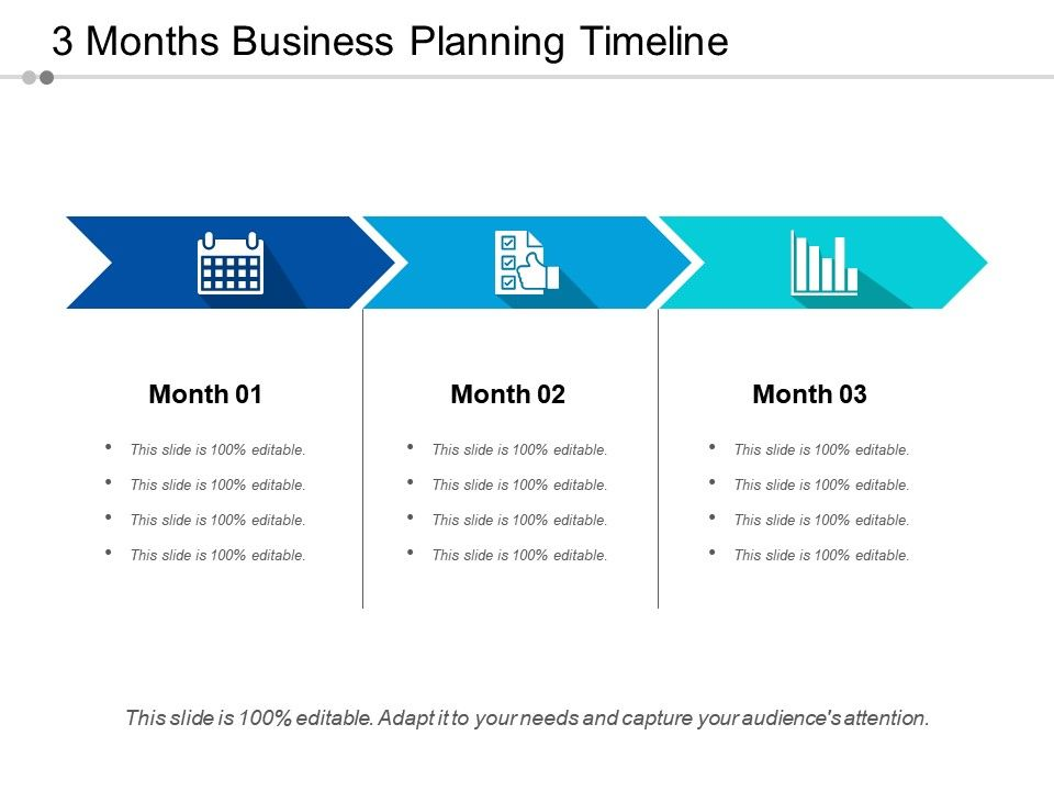 3 Months Business Planning Timeline Powerpoint Design Template