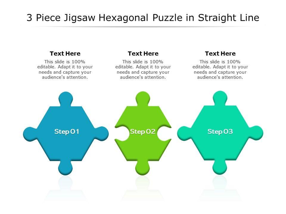 3 Piece Jigsaw Hexagonal Puzzle In Straight Line