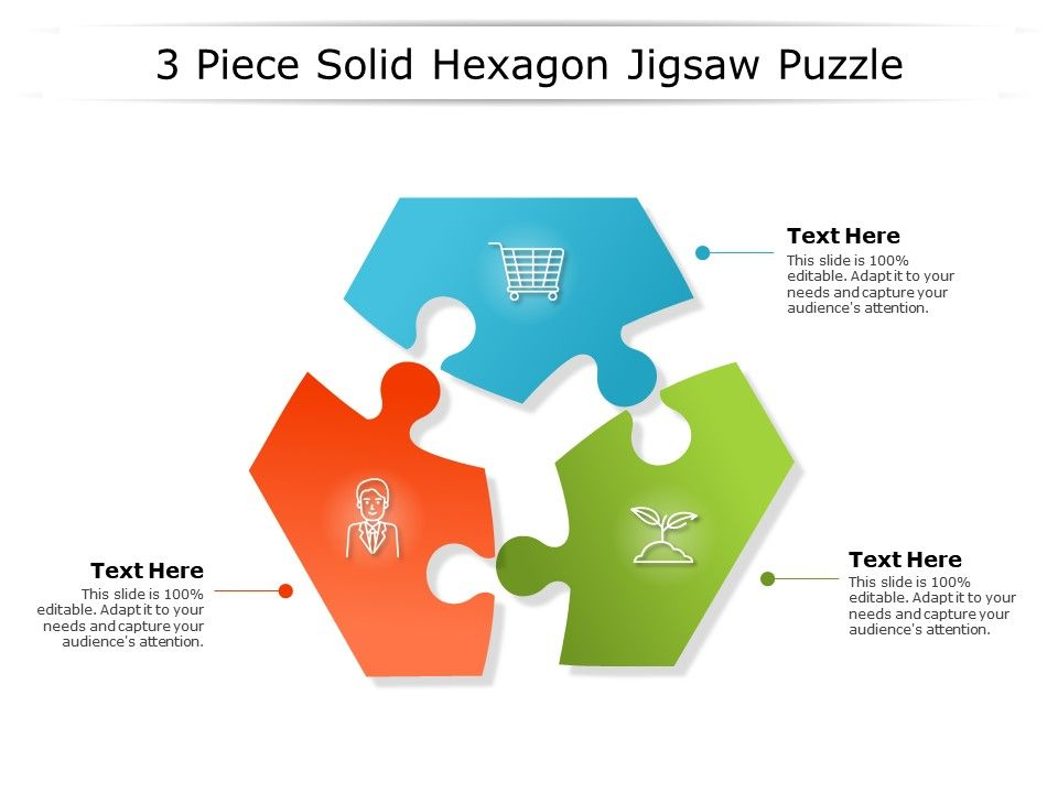 3 Piece Solid Hexagon Jigsaw Puzzle