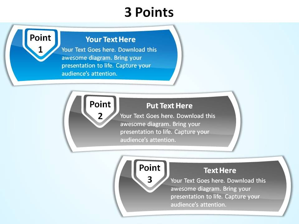 3 points with textboxes slides presentation diagrams