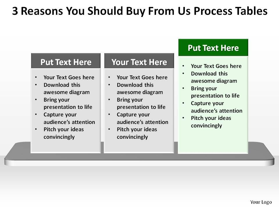 3 reasons you should buy from us textboxes horizontal process, Presentation templates