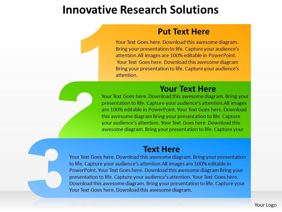 3 steps innovative research solutions with 1 2 3 outlines powerpoint