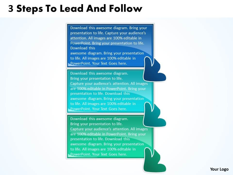 3 steps to lead and follow flowchart free powerpoint templates, Powerpoint templates