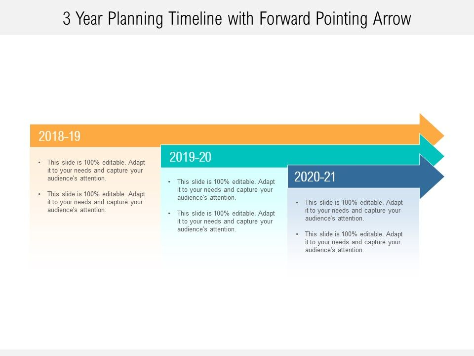3 Year Planning Timeline With Forward Pointing Arrow ...  Years Roadmap on 3 year calendar, 3 year program road map, 3 year service, 3 year project road map, 3 year plan,