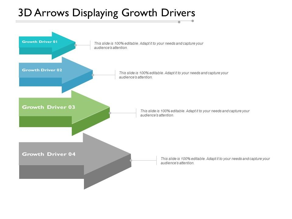 3d Arrows Displaying Growth Drivers