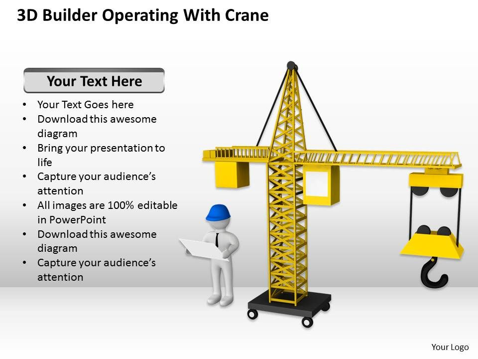 3D Builder Operating With Crane Ppt Graphics Icons Powerpoint ...