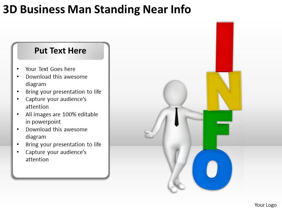 3d_business_man_standing_near_info_ppt_graphics_icons_powerpoint_Slide01