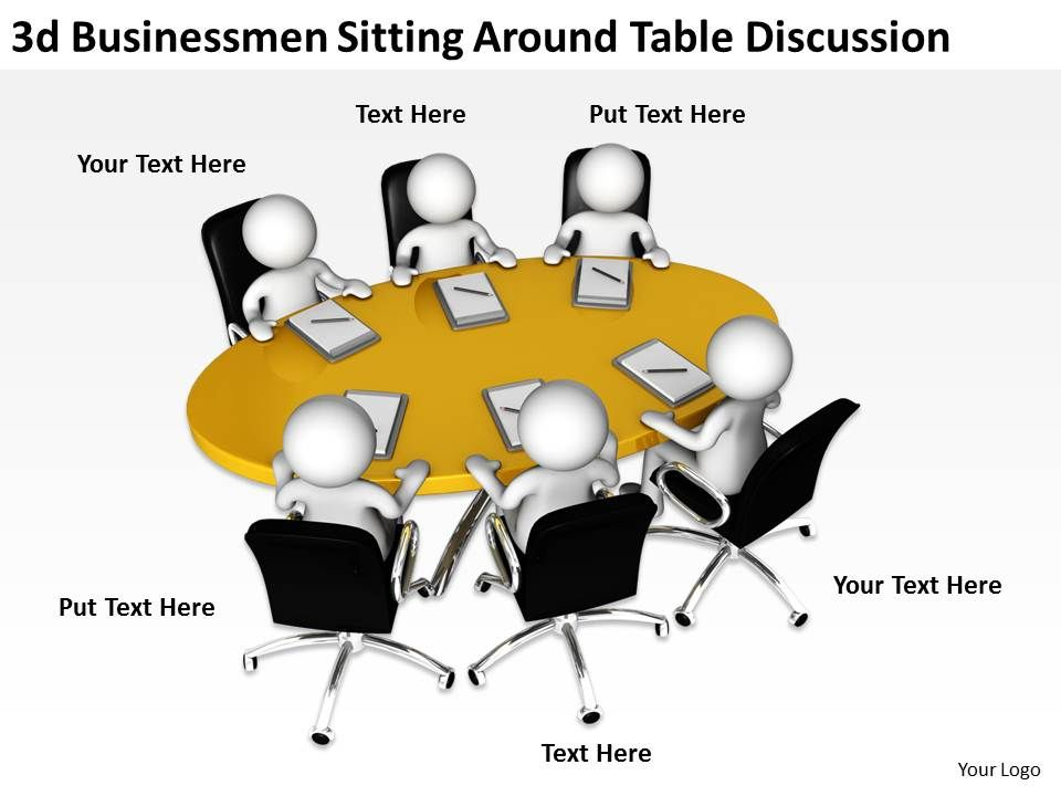 3d_businessmen_sitting_around_table_discussion_ppt_graphics_icons_powerpoint_Slide01