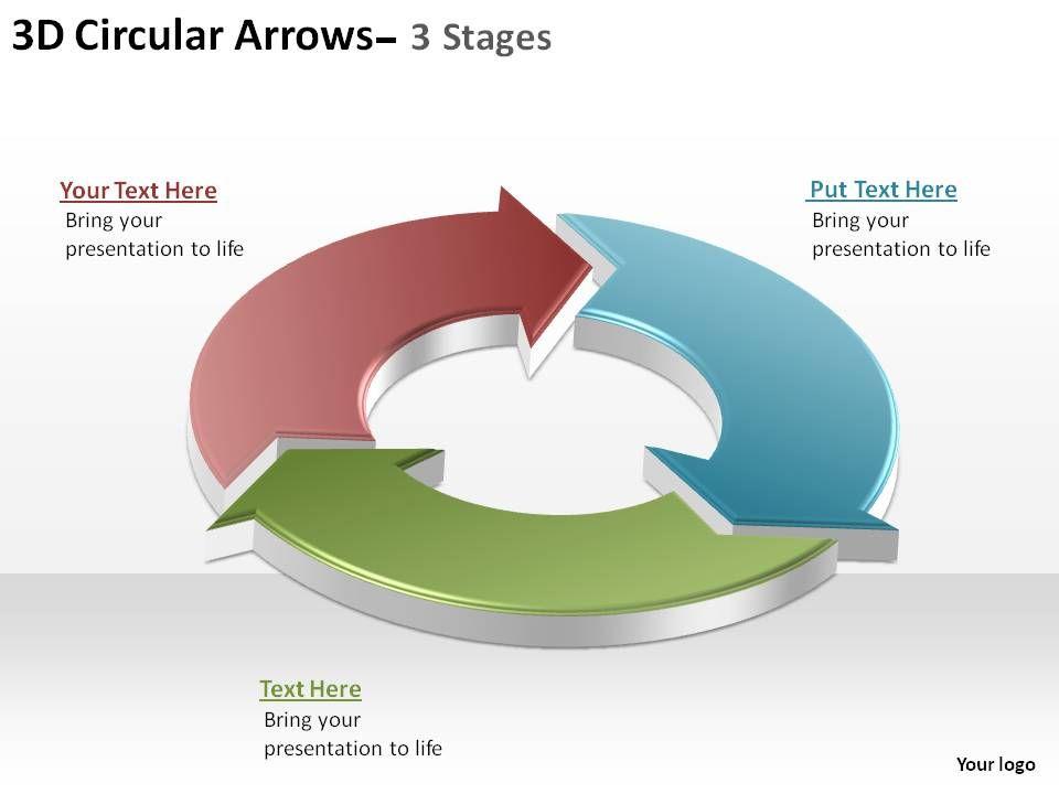 3d circular arrows process smartart 3 stages ppt slides diagrams