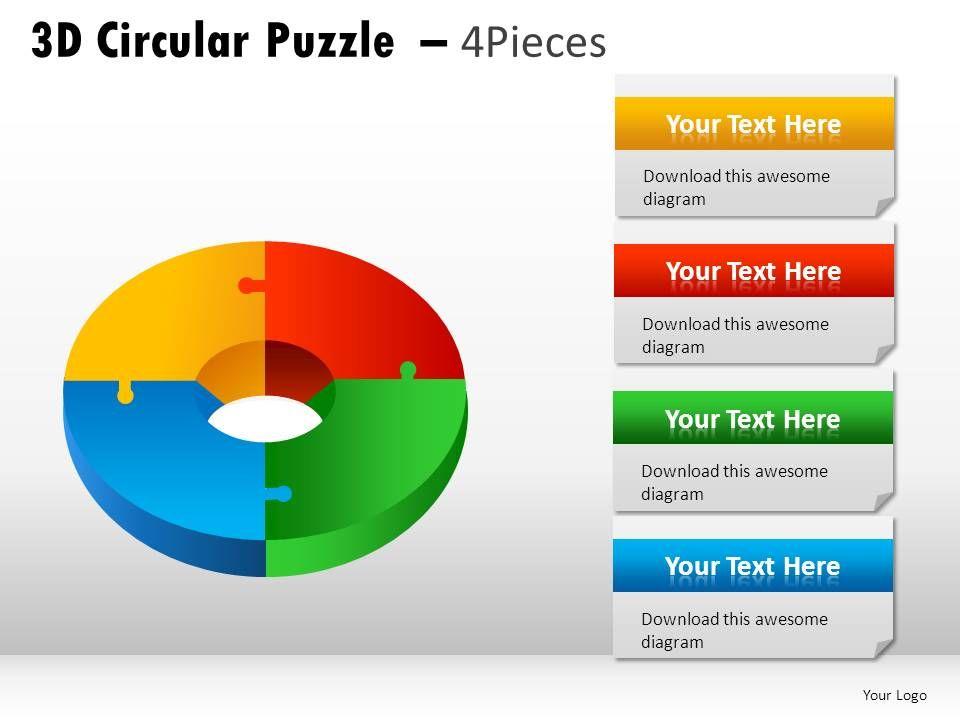 3d Circular Puzzle 4 Pieces Powerpoint Presentation Slides Slide01 Slide02