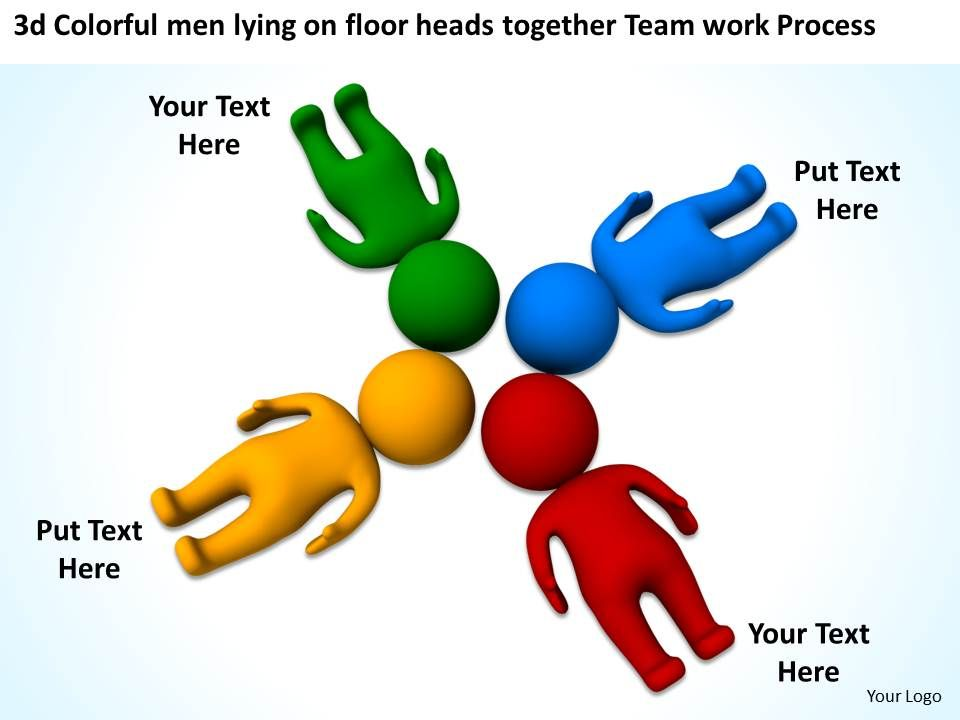 3d Colorful men lying on floor heads together Team work ...