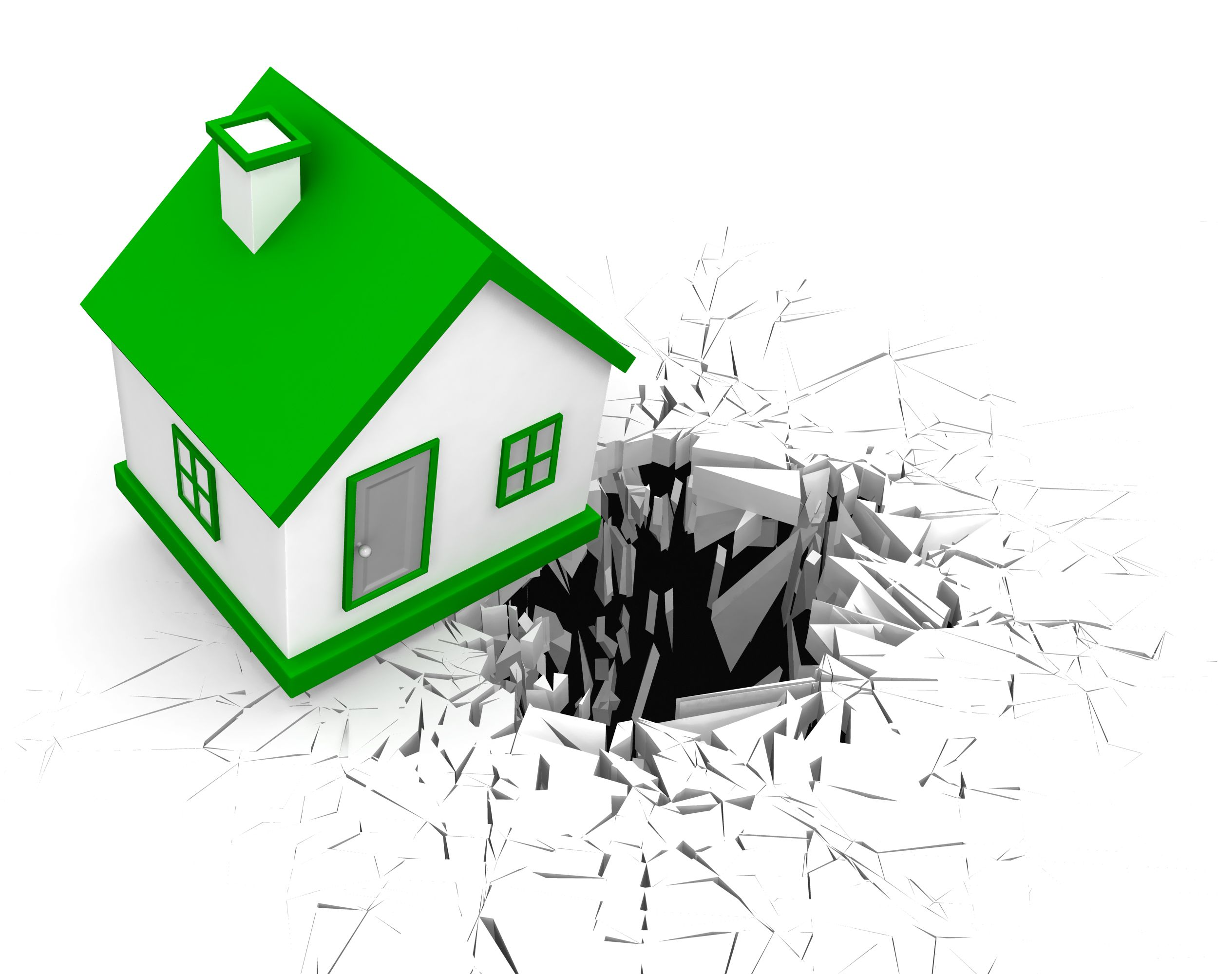 3d Crack Effect With Green Home Stock Photo Powerpoint