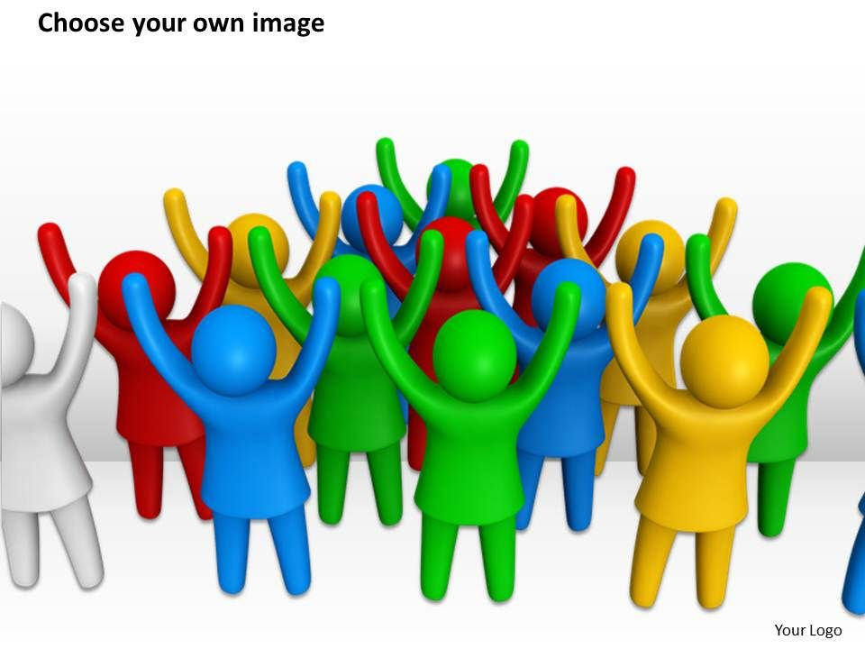 3d Crowd Of People With Raised Hands Ppt Graphics Icons